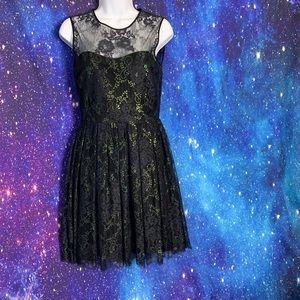 Erin- Black & Green Sparkle Lace Dress size 2